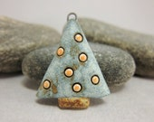 Christmas Tree...Stoneware Pendant...Matte Moss Green w/ Orange Dots