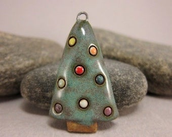 RESERVED for katchafu RESERVED Christmas Tree...Stoneware Pendant...Glossy Moss Green w/ Multicolor Dots