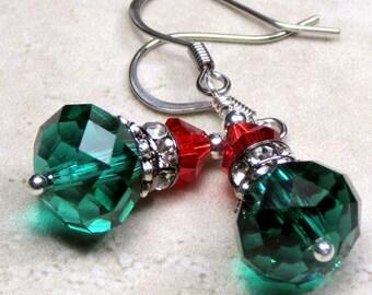 Green and Red Swarovski Crystal Dangle Holiday Earrings, Christmas Earrings, Holiday Earrings, Swarovski Crystal Earrings, Christmas Jewelry