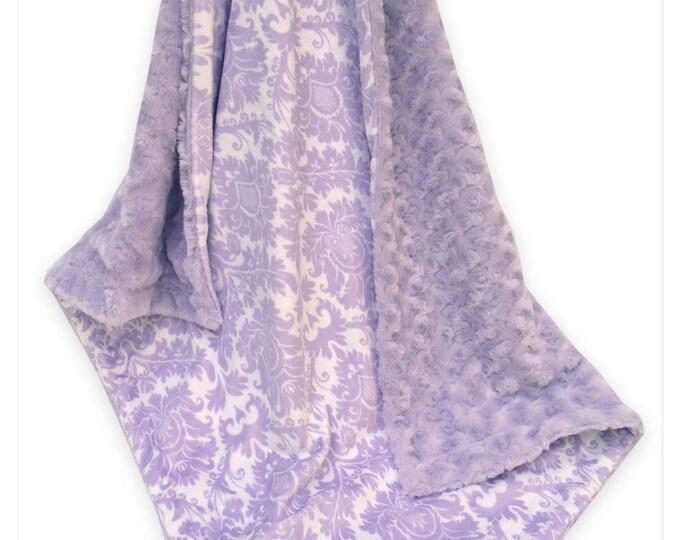 Lavender Damask and Swirl Minky Baby Blanket, Light Purple Damask Minky Blanket,