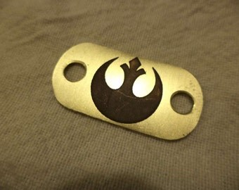 Star Wars inspired etched brass shoelace tag