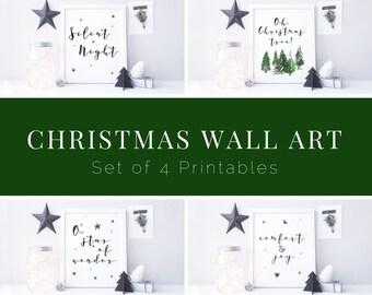 Christmas Printable Bundle - Set of 4 Christmas Printables - Christmas Wall Art - DIY Printable Signs - Modern Christmas Decor - Calligraphy
