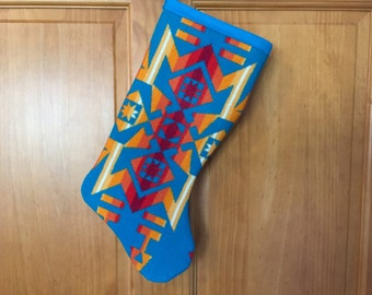 Christmas Stocking XL Bright Turquoise Southwestern Geometric Tribal Handcrafted Using Fabric from Pendleton Woolen Mill
