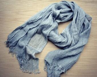 Large linen gauze shawl scarf Silver Grey
