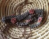 Vintage Wooden Bead Flower Belt Boho Festival Style