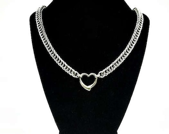 Ladies Heart In Bondage Choker  Half Persian Chainmail Chainmaille stainless steel