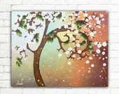 ON SALE Baby Blue Brown Tree Painting, Cherry Blossom Canvas Art, Tree of Life Wall Art Decor, Whimsical Tree Living Room Decor 16x20