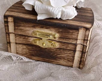 Wood Burned Wedding Ringbearer Ring Box with Paper Rose