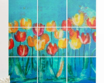 Wood Wall Mural - Tulips in Blue