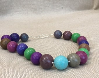 Multicolored (Rainbow) Porcelain Beaded Bubble Gum Ball Necklace