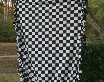 Checkered Flag Fleece Blanket - Black & White Checkers Checkerboard Checks