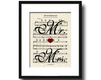 The Beatles All You Need Is Love Song Sheet Music Mr and Mrs Art Print, Wedding and Anniversary Gift, Custom, Names and date