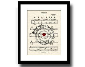 At Last by Etta James Sheet Music Song Lyric Art Print, Mr and Mrs, Custom Wedding, Custom Anniversary, Names and Date, First Dance