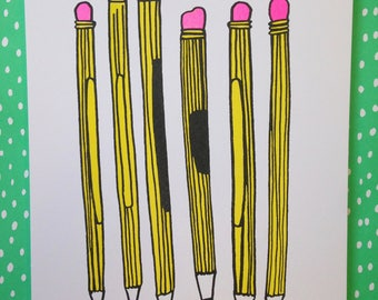 Pencils risograph art print - made in Nashville