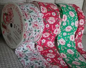 Vintage Strawberry Shortcake  Ribbon  Holiday Christmas Craft Lot