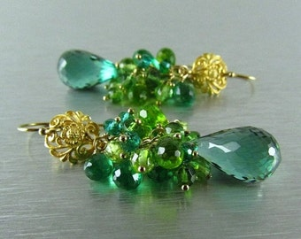 25OFF Green Amethyst, Peridot, Green Apatite and Quartz Cluster Earrings