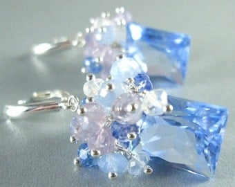 25OFF Blue Quartz, Lavender Opal, Blue Chalcedony, Topaz and Crystal Gemstone Sterling Silver Earrings