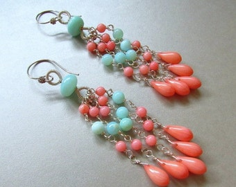 25OFF Coral and Blue Peruvian Opal Wire Wrapped Dangle Earrings