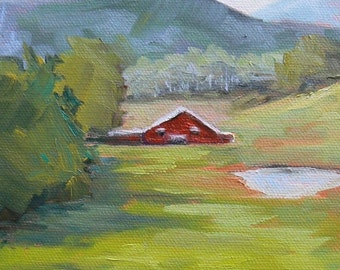 """Farm Landscape Painting, Barn Painting,Impressionist art, """"Valley View"""" 5x7"""" Painting, small oil painting"""