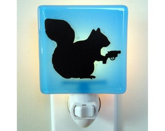 Funny Squirrel - Fused Glass Night Light