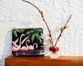Pink Flamingo Pouch, Small Zipper Pouch, Coin Purse, Cosmetic Pouch, Pouch, Fabric Pouch, Gift for Her, Fabric Zipper Pouch, Flamingo Case