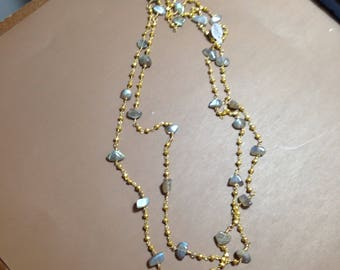 Pyrite gold plated and labradorite  necklace long or double semi precious stones
