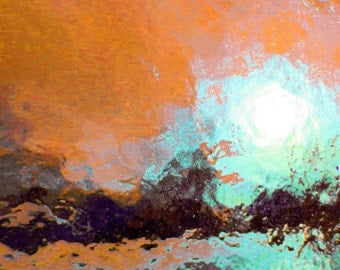 Primitive Sun 16x20 Classic Abstract Art Photograph, Copper Turquoise Ice, Modern Nature Home Decor Wall Art