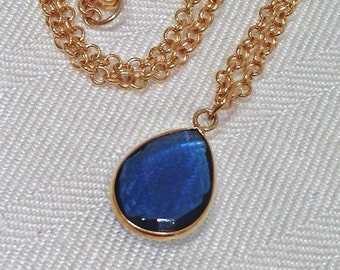 50% SALE Blue Necklace Blue Quartz Gemstone Necklace Gold Chain Choker Layering Necklace Gift For Her