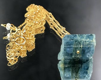 Aquamarine Necklace Raw Gemstone Pendant Blue Gemstone Necklace 14kt Gold Fill Choker March Birthstone Gemstone Slice Layering Necklace