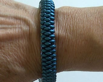 Teal Superduo Bangle Bracelet by Carol Wilson of Je t'adorn