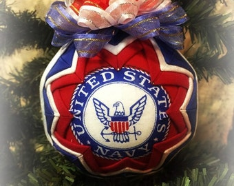 HANDMADE QUILTED Ornament /Red, Blue, and White fabric /great gift idea/Red, Blue, and White Handmade Quilted Ornaments (Ready to Ship)