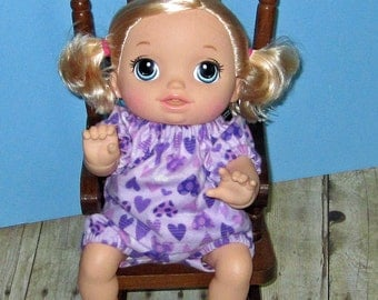 Baby Alive Go Bye Bye Doll Clothes, Purple Hearts Pajama Set,  Fits 15 16 Inch Doll,   Doll Clothes Handmade Made in USA, Purple