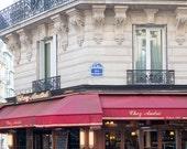 Paris Cafe, Chez Andre, Paris Photography, Winter in Paris, Paris Photography, Red Paris Decor