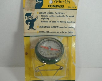 Vintage Wrist Compass 1960s Pin On Compass Taylor Compass #2914 Taylor Instruments Liquid Filled Compass Vintage Camping Hiking Movie Prop