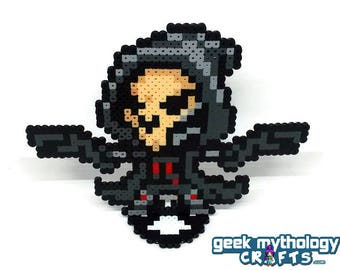 Reaper - Perler Bead Sprite Pixel Art Figure Stand or Lanyard Necklace