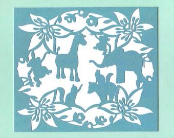 Animal Babies Paper Cut Wall Art Wall Decor 8x10 Unframed