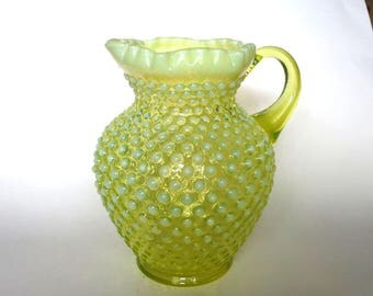 Fenton Glass Topaz Yellow Opalescent Hobnail Pitcher Large with Ruffled Top