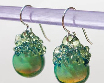 Glass Crystal Ball Earrings - Blue Lagoon