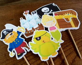 Yo Ho Pirate Party - Set of 12 Pirate Party Double Sided Assorted Toppers by The Birthday House