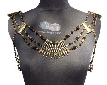Black & Bronze Shoulder Collar - Athena: Bronze and Black Crystal Body Armor Jewelry