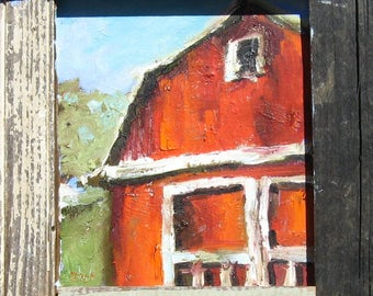 Small Red Barn Oil Painting, Country Art, Rustic Art, Farmhouse Chic, Cottage Chic, Original Oil Painting, Oil Paint on Wood, Upcycled Frame