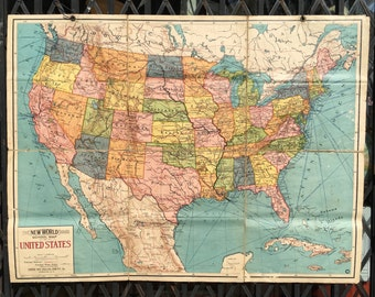 Antique Folding Cloth-Backed School Map of the United States circa 1920