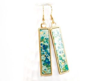 Splatter Painted Dangle Earrings - Acrylic in Long Brass Rectangle Setting - Caribbean Waters Colorway: Aqua, Turquoise, Gold, Green