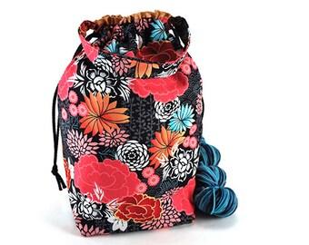 Medium Knitting Crochet Project Bag *with interior yarn guide* - Harajuku