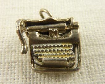 Vintage Sterling Painted Working Moveable Type Writer Charm