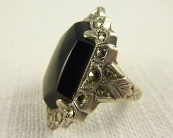 Antique Art Deco Uncas Sterling Onyx and Marcasite Ring
