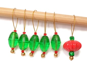 Stitch Markers Snagless Christmas Green Red Knitting Tools Beaded Snag Free Handmade Gift for Knitting