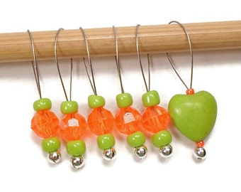 Knitting Stitch Markers Snag Free DIY Beaded Stitch Markers Orange Green Heart Gift for Knitter Craft Supplies