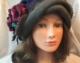 Warm ladies hat .winter fleece  grey gray navy blue hat cloche fleece purple  grey blue . Felted flower hat. tatiana123