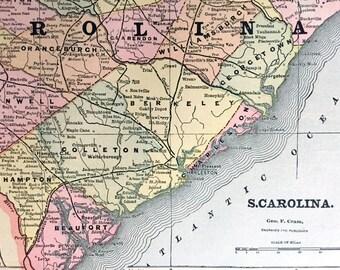 1892 Antique Map of South Carolina - Antique South Carolina Map - South Carolina Antique Map